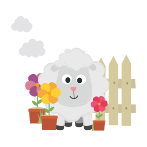 Gardening Sheep With Flowers On Black