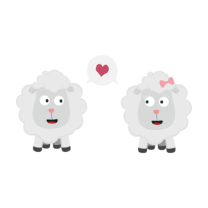 Sheeps In Love With Heart On Black