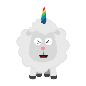 Unicorn Sheep With Rainbow