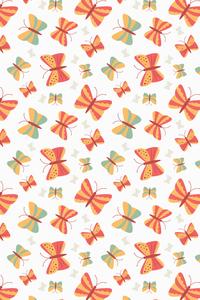 Orange Green Butterfly Pattern