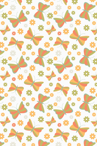 Green Orange Butterfly Pattern