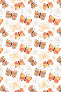 Orange Blue Butterfly Pattern