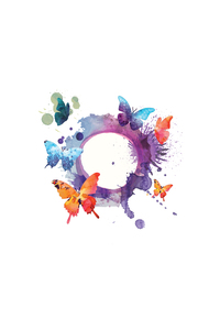 Butterfly Multicolor With Circle