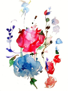 Blue Pink Watercolor Flower