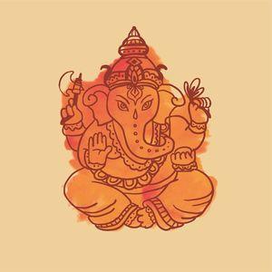 Lord Ganesha Orange Illustration