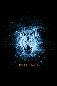 House Stark Wolf On Black