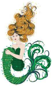 Green Mermaid On White