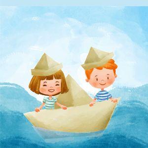 Cute Kids In A Boat