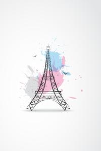 Eiffel Tower Pink Blue