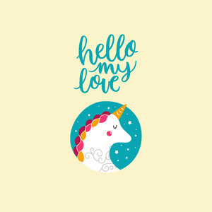 Hello My Love Cute Unicorn 4