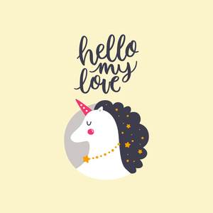 Hello My Love Cute Unicorn 5
