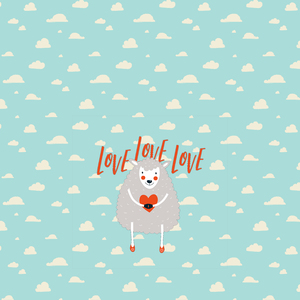 Cute Sheep With Hearts 2