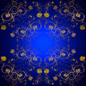 Gold Blue Floral Pattern