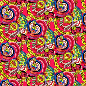 Multicolor Flower Doodle Pattern