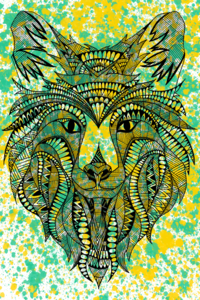 Green Yellow Tribal Wolf