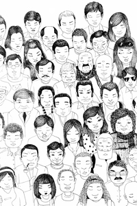 People Sketch In Black And White