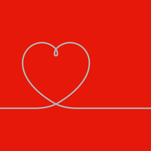 Heart Line On Red