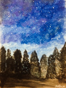 Watercolor Blue Starry Night
