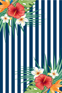 Flower Love On Vertical Stripes