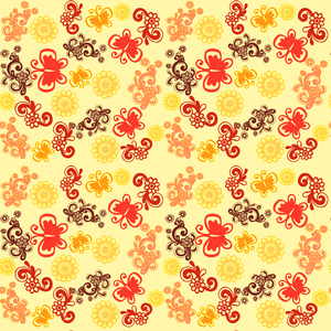 Retro Butterflies Pattern On Yellow