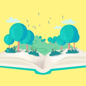 Vintage Book With Trees