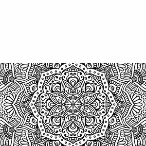 Half Ornamental Design On White