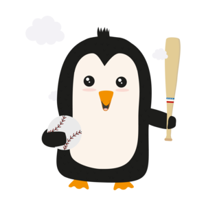 Penguin Baseball Player With Ball