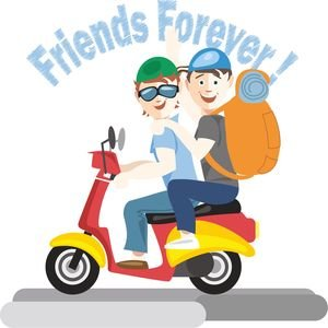 Friends Forever On Bike