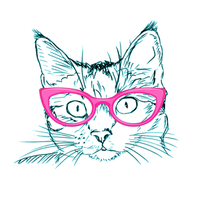 Hipster Cat With Pink Frame