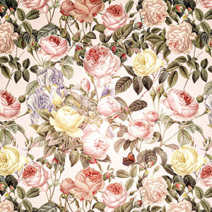 Pink Vintage Roses Watercolor Spring Pattern