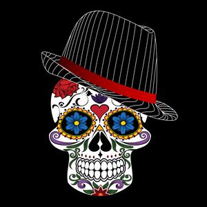 Hipster Modern Skull On Black