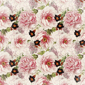 Pink Vintage Roses Peonies Watercolor Spring 3