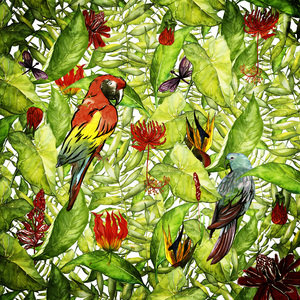 Tropical Bird Flamingo And Jungle Pattern