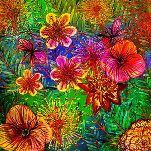 Tropical Flower Jungle Pattern