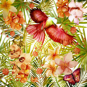 Tropical Bird And Flower Jungle Pattern 2