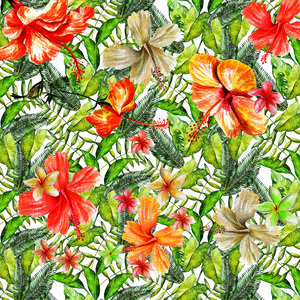 Tropical Hibiscus Flower Jungle Pattern