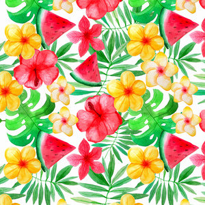 Tropical Fruit And Flower Jungle Pattern 3