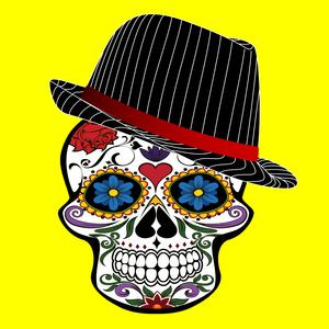 Hipster Modern Skull On Yellow
