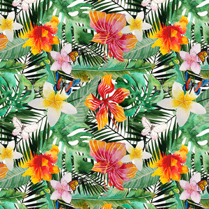 Tropical Hibiscus Flower Jungle Pattern 2