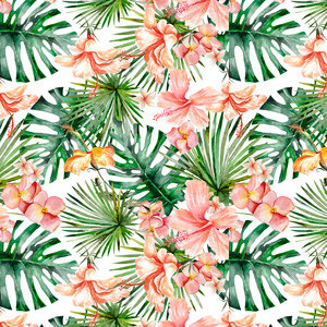 Tropical Hibiscus Flower Jungle Pattern 3