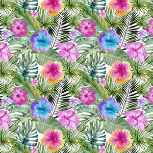Tropical Hibiscus Flower Jungle Pattern 4