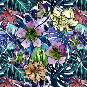 Tropical Hibiscus Flower Jungle Pattern 5