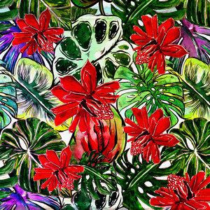 Tropical Red Passiflora Flower Jungle Pattern