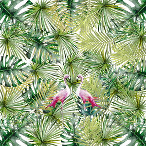 Tropical Flamingo Jungle Pattern