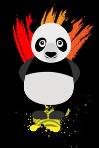 Panda Illustration On Black