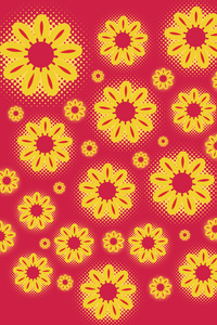 Yellow Sunflower On Red Pattern