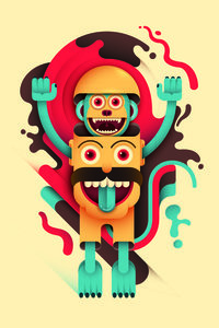 Bizarre Human Head And Monkey