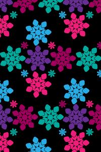 Geometric Flower Shapes On Black