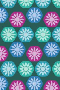 Geometric Fancy Flowers On Green
