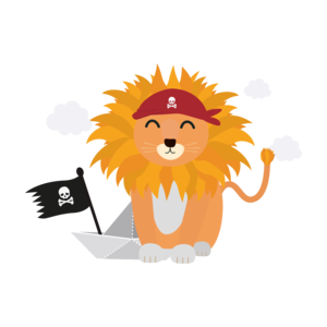 Lion Pirate With Pirateboat